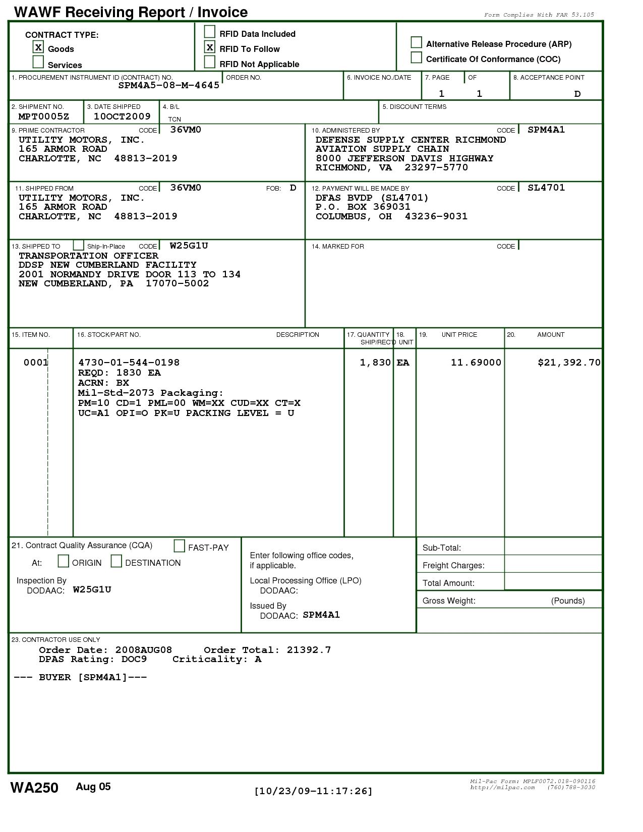 wawf receiving report bing images wawf my invoice