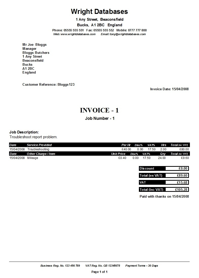 wright databases ready built databases invoices for self employed