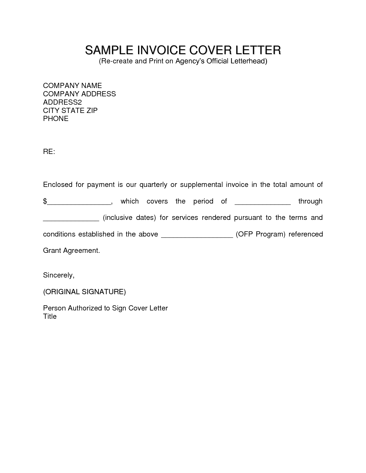 Example Of Invoice Letter