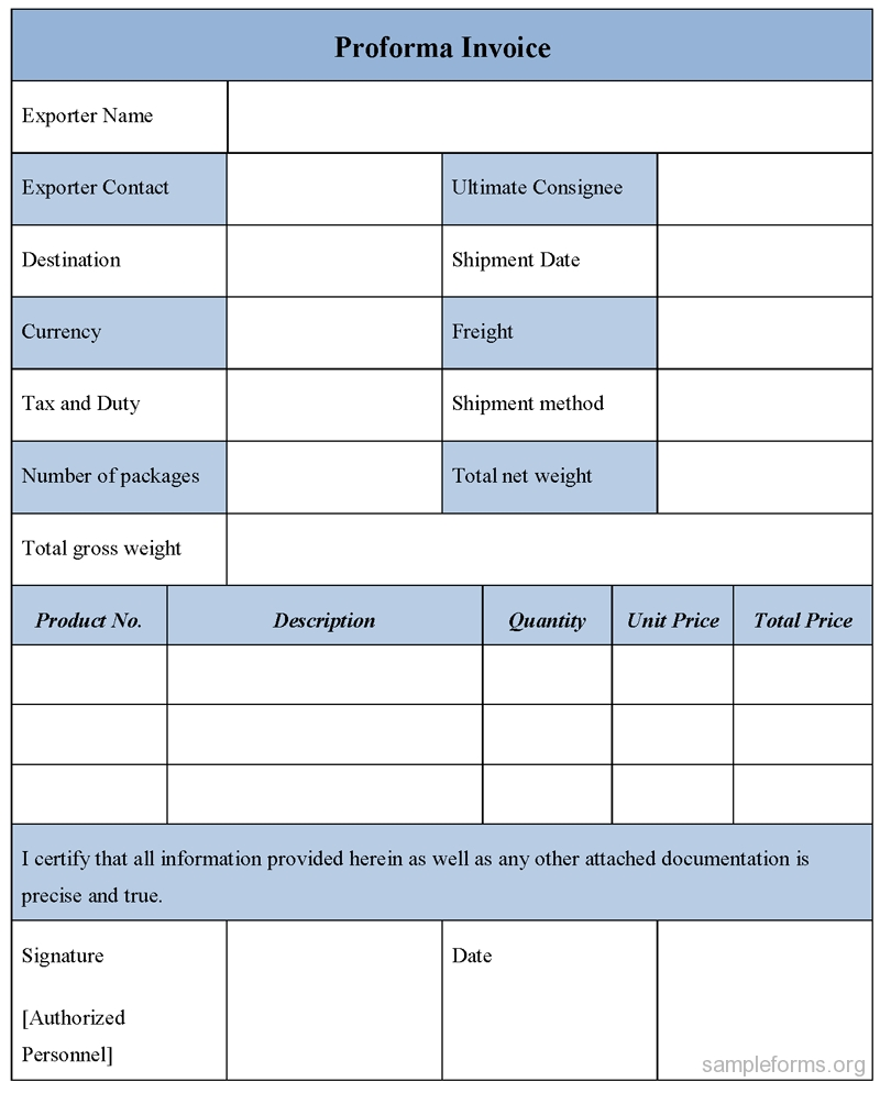 sample proforma invoice in word