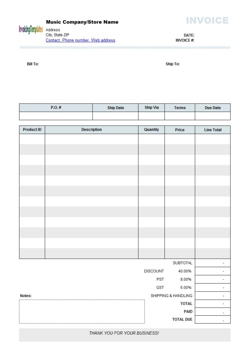 band invoice template invoice template ideas. Black Bedroom Furniture Sets. Home Design Ideas