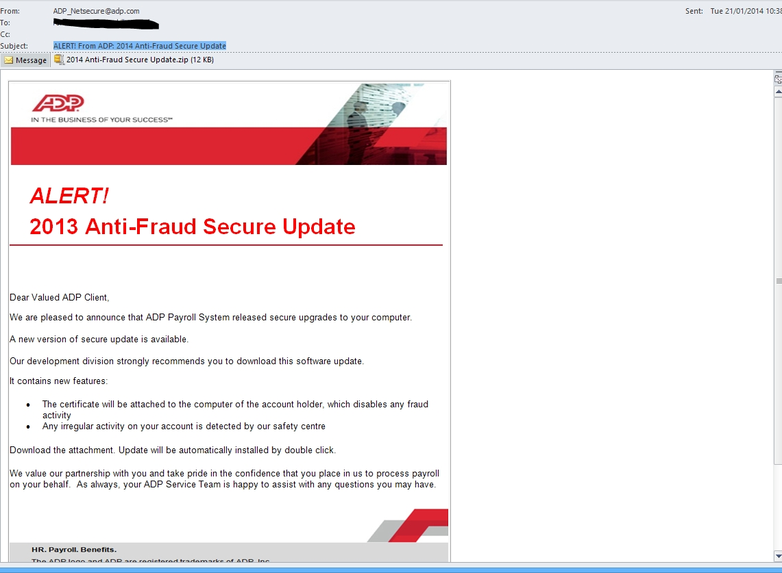 alert from adp 2014 anti fraud secure update fake pdf malware adp invoice email