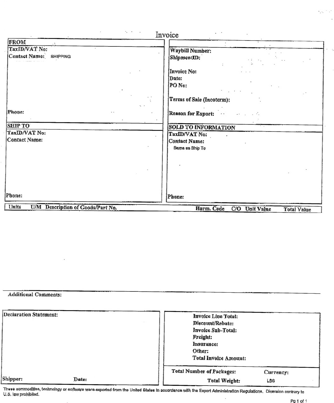 avoid the ups canadian brokerage fee my story part 6 gathering ups commercial invoice template