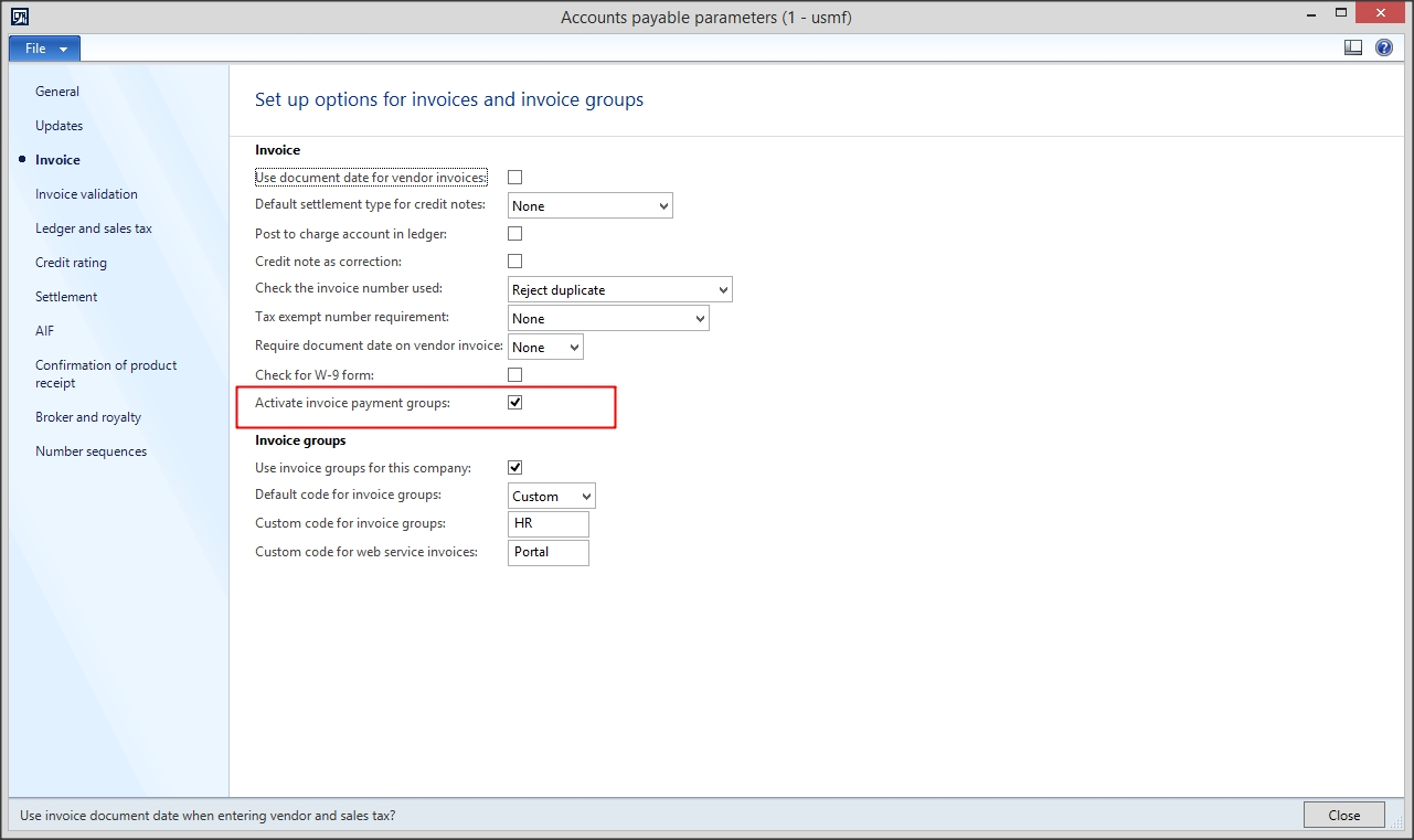 ax 2012 add invoices to payment groups microsoft dynamics ax invoices to go