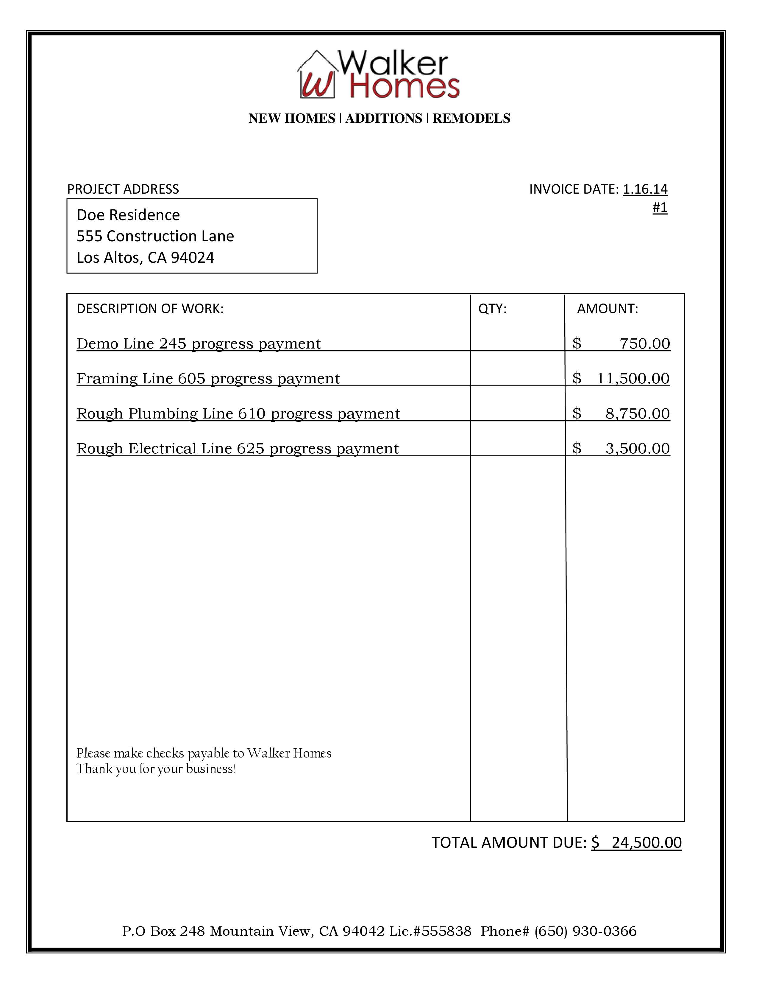 Final Invoice Sample Pertaminico - Free construction invoice women's online clothing stores