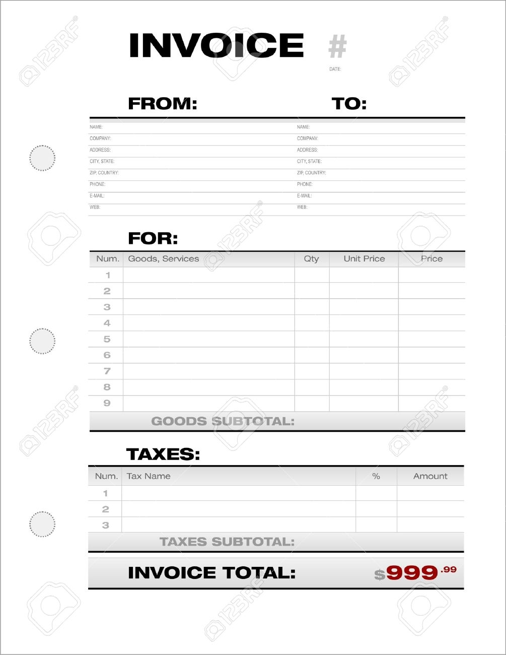 business document invoice template with taxes section royalty free invoice document template