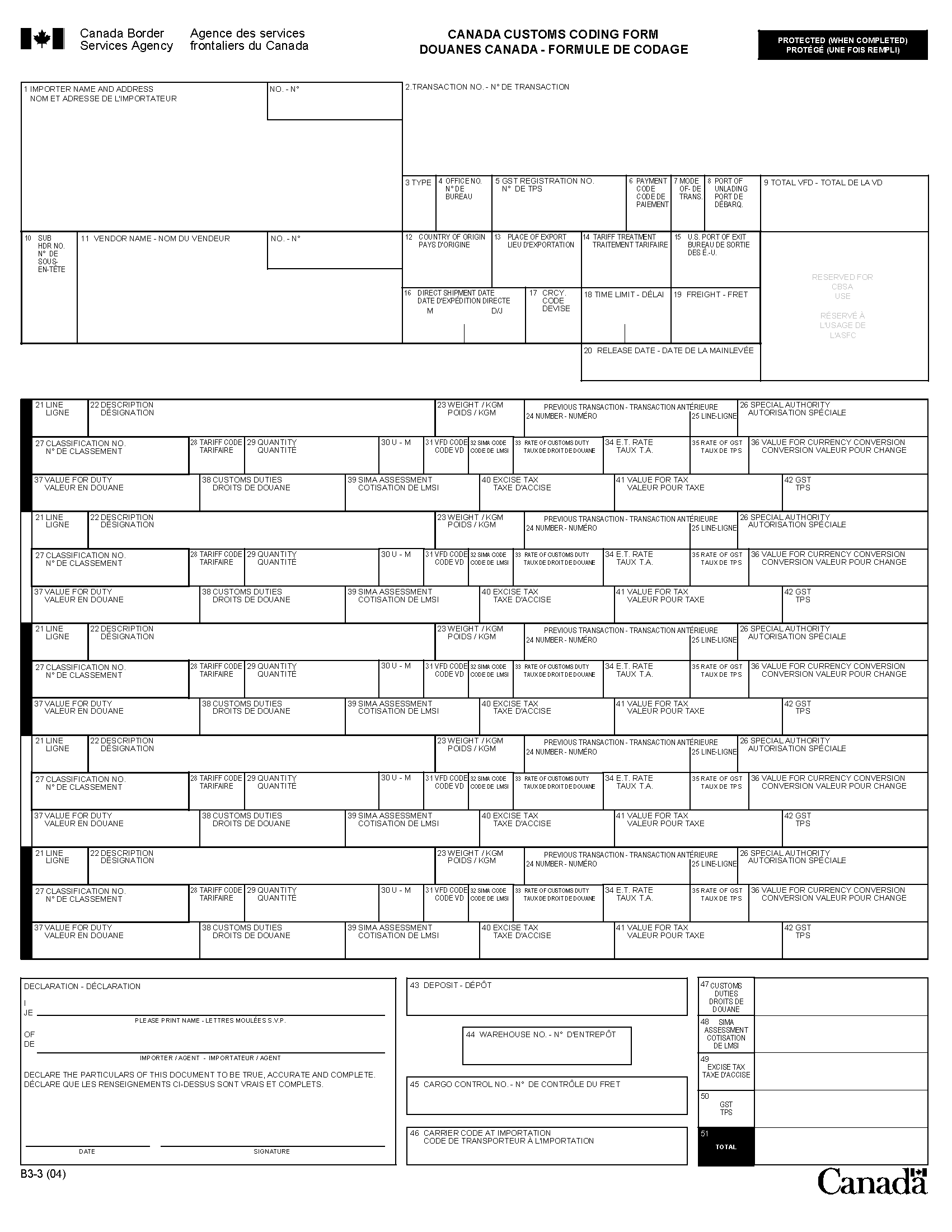 canadian customs invoice instructions memorandum d17 1 5 registration accounting and payment for 1701 X 2201