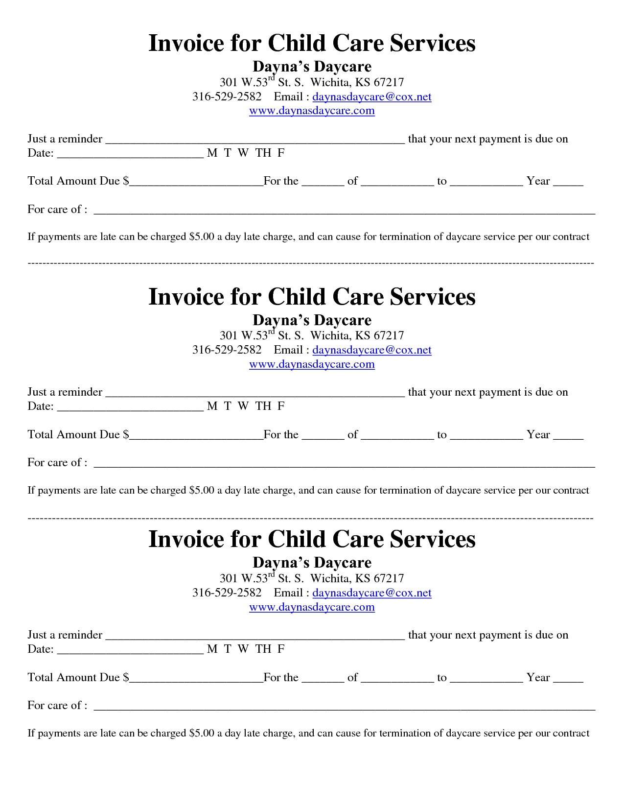 child care receipt template free image gallery   photonesta daycare invoice template