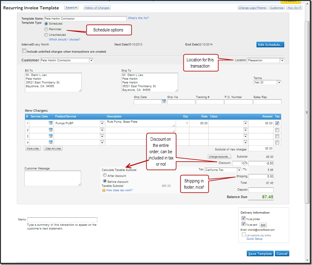quickbooks how to change invoice template, Invoice templates