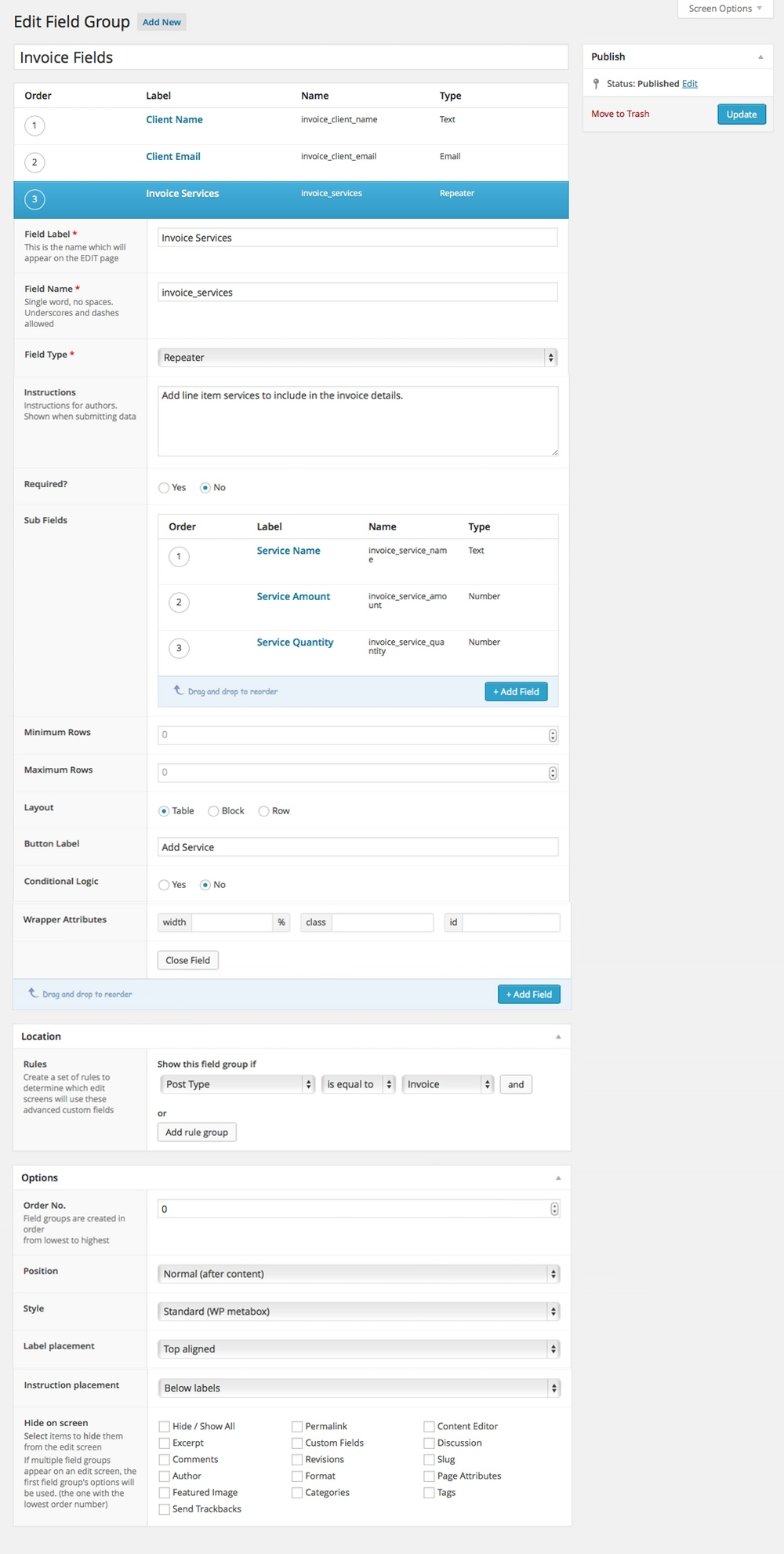 create invoices with gravity forms and wordpress create custom invoices
