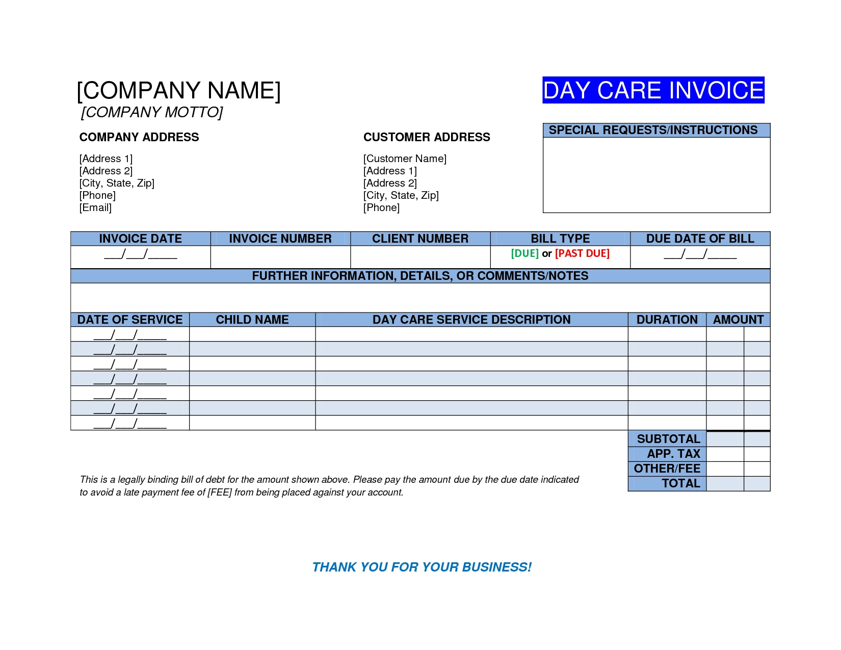 daycare invoice template free invoice templates image gallery  daycare invoice template