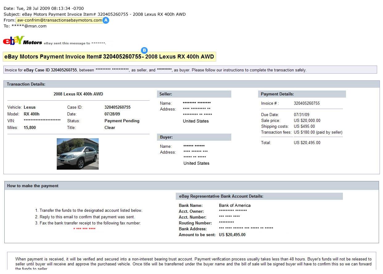 ebay motors security center sending an invoice on ebay