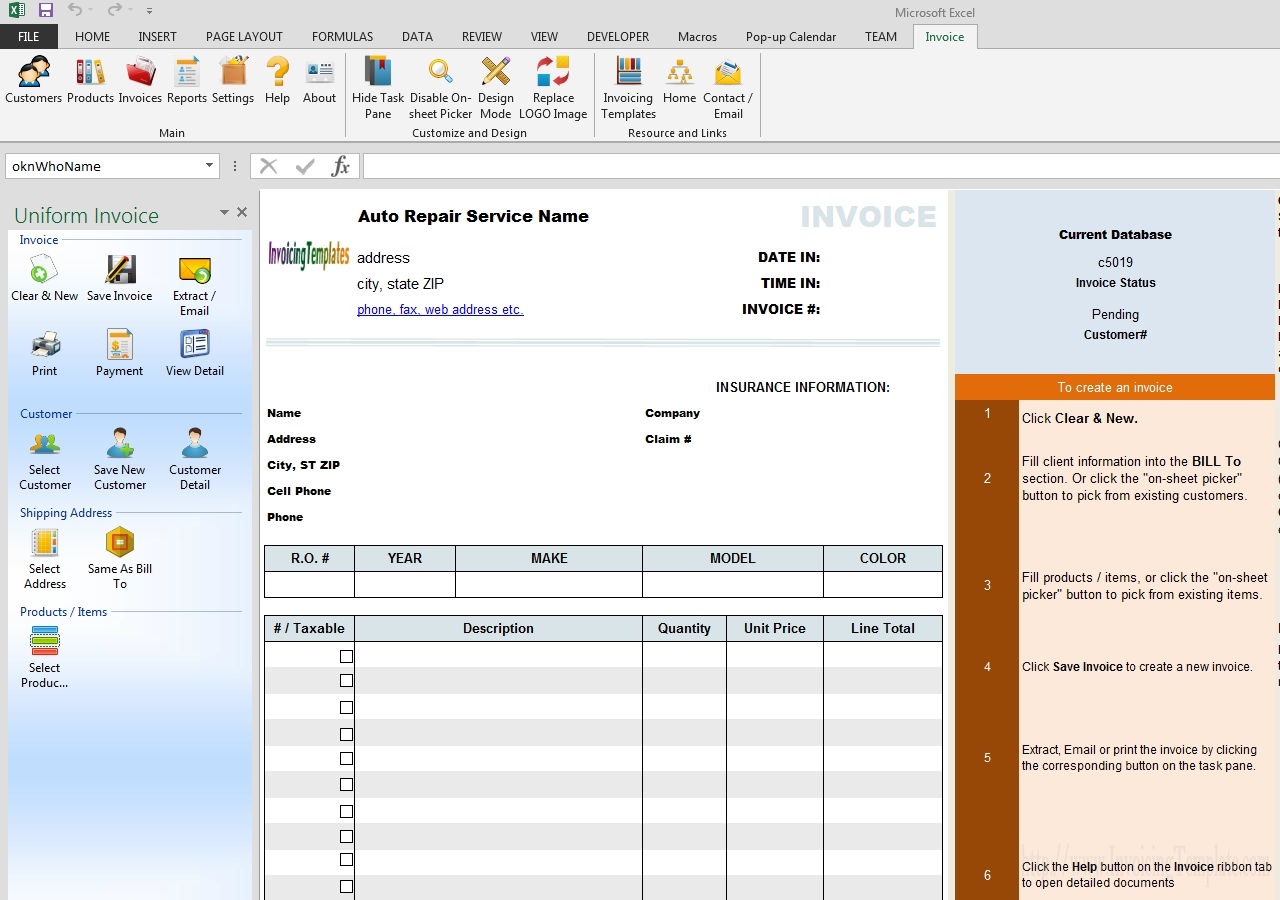 free auto repair invoice template automotive invoice software