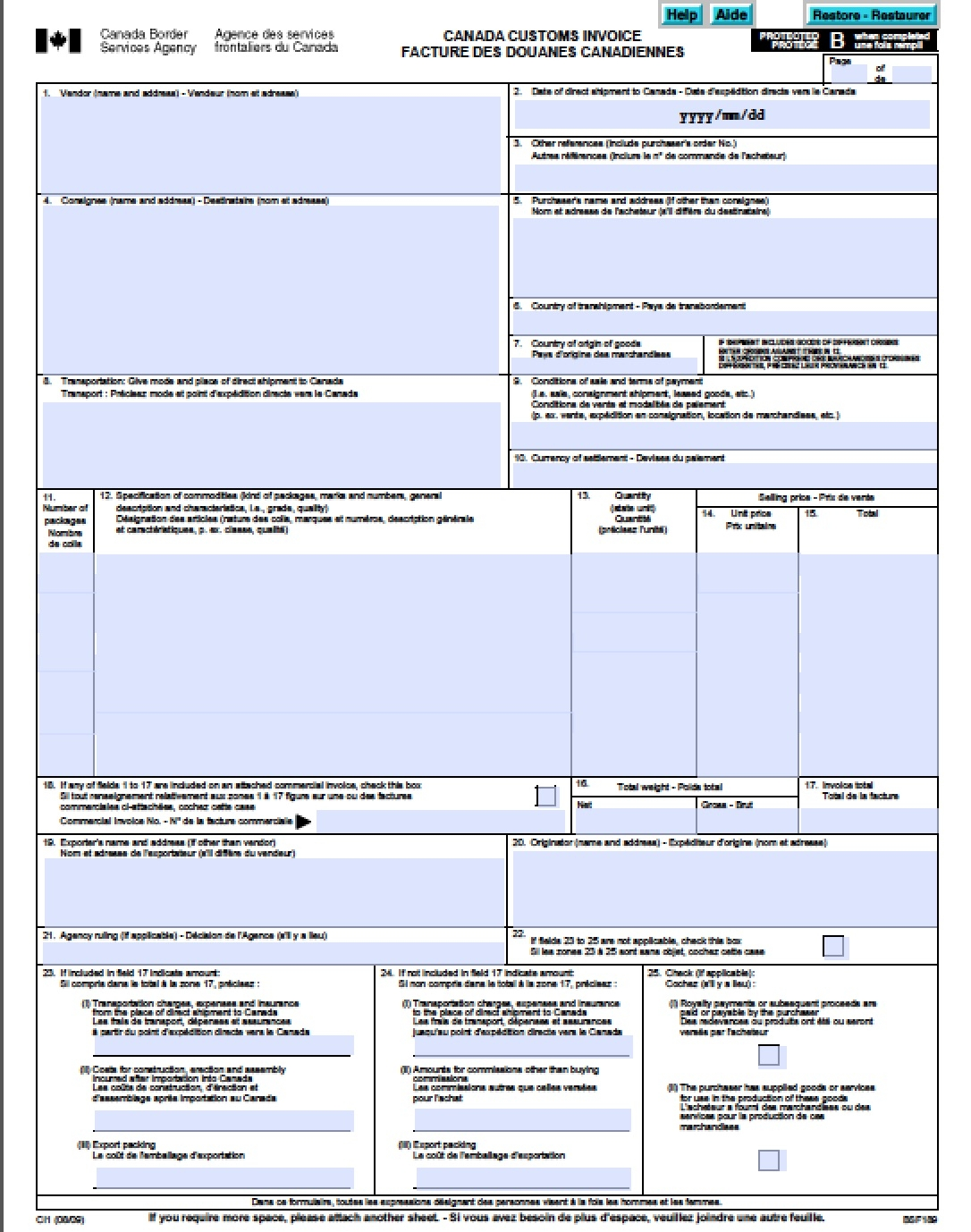 free canada customs commercial invoice template form ci1 excel canada customs commercial invoice