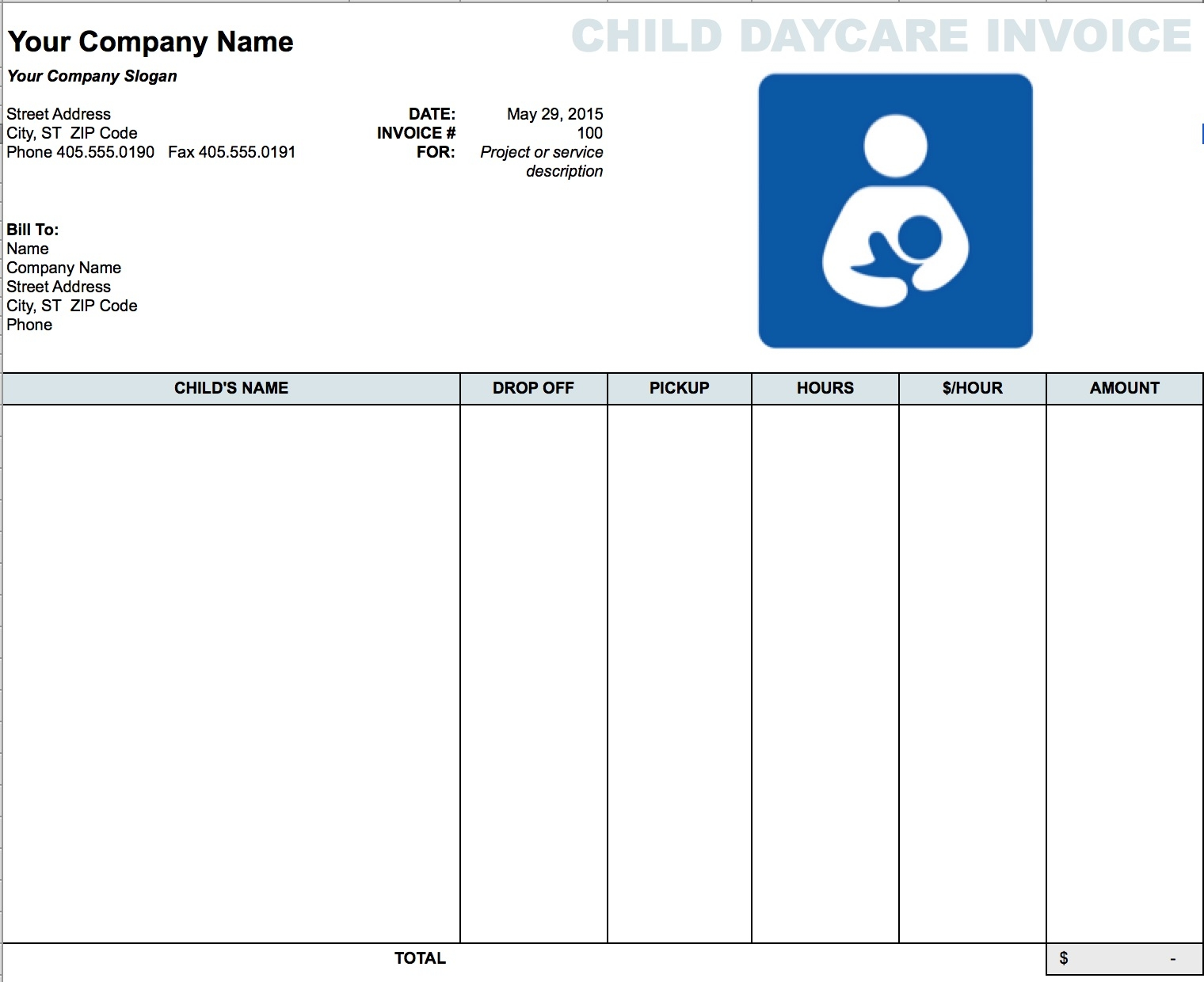 free daycare (child) invoice template | excel | pdf | word (.doc) daycare invoice template