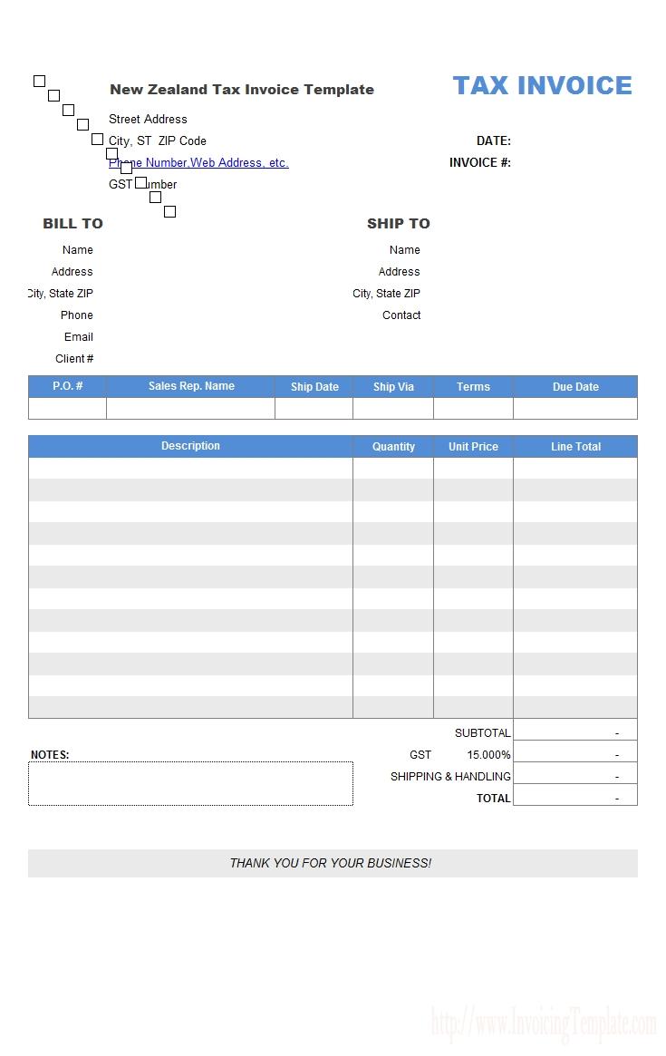 free new zealand tax invoice template tax invoice nz