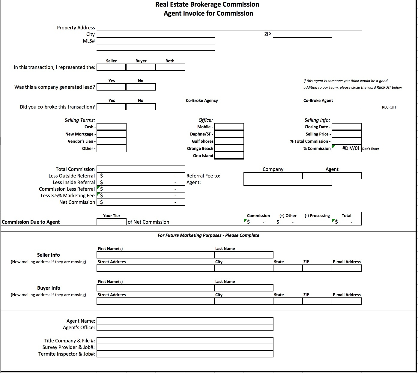 free real estate brokerage commission invoice template excel real estate invoice