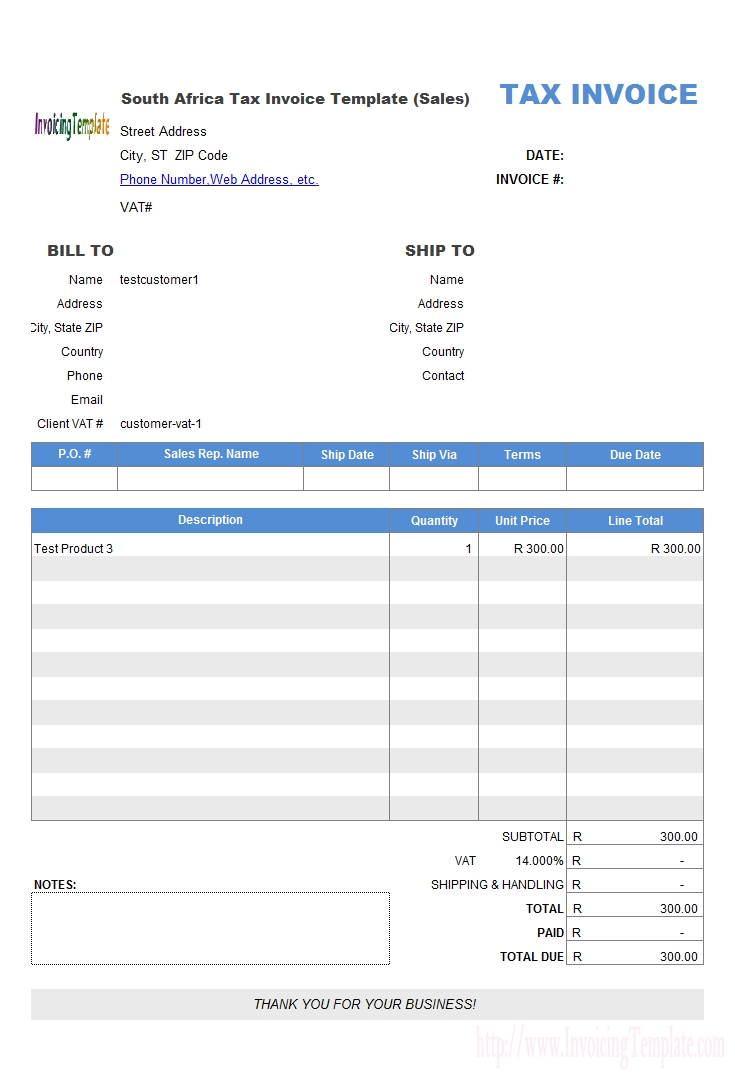 free south africa tax invoice template sales tax invoice excel format