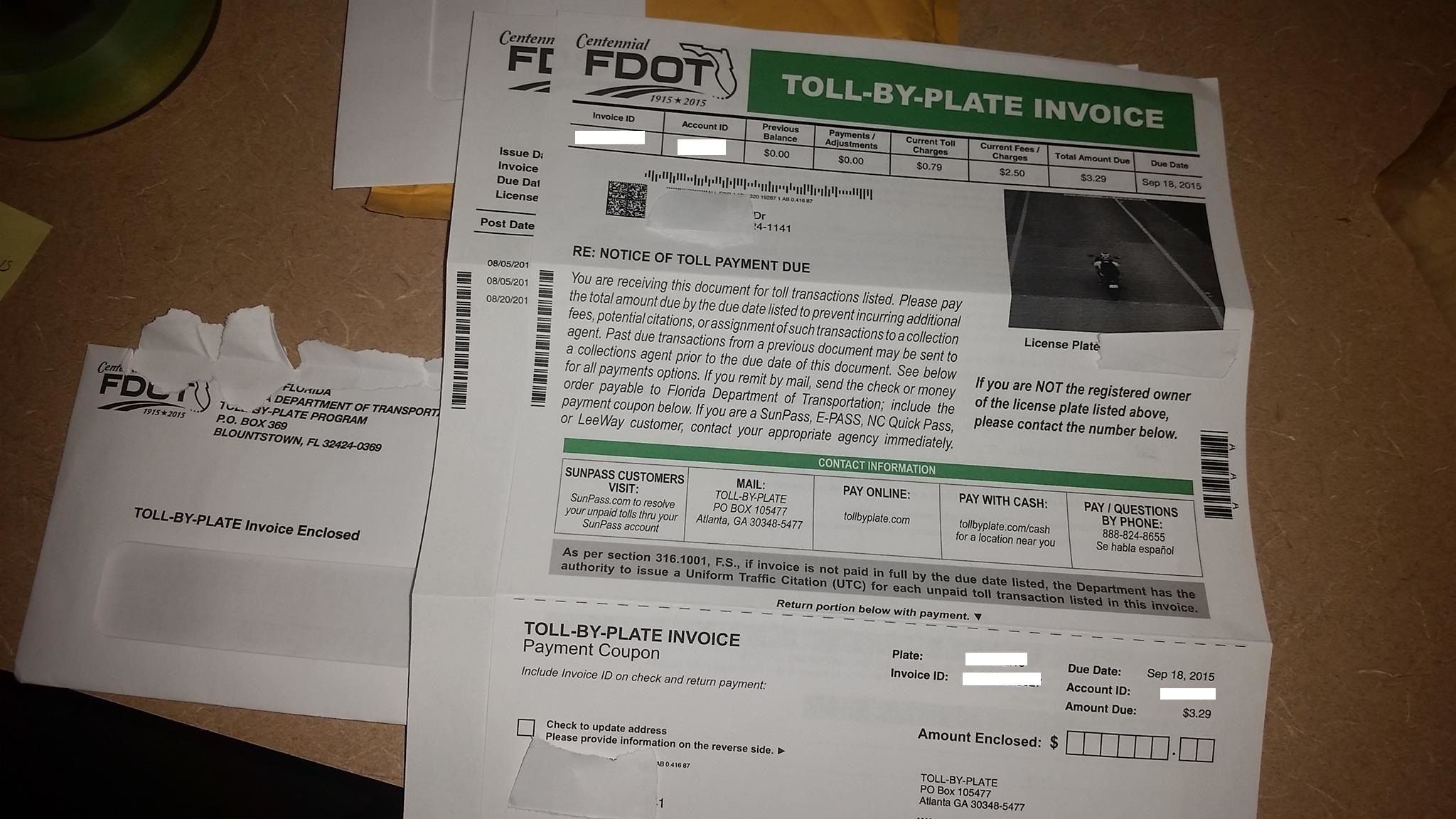 i got a penalty for running a toll booth i don39t live near any florida toll by plate invoice