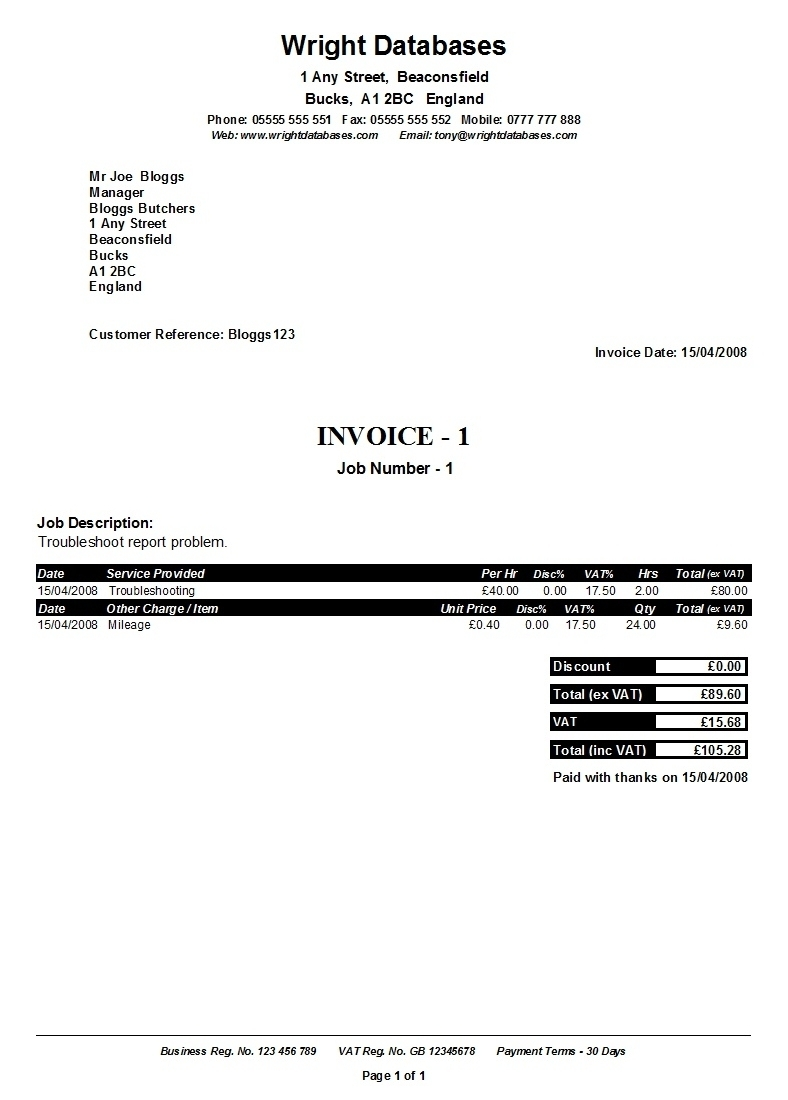 self employed invoice * invoice template ideas, Invoice examples
