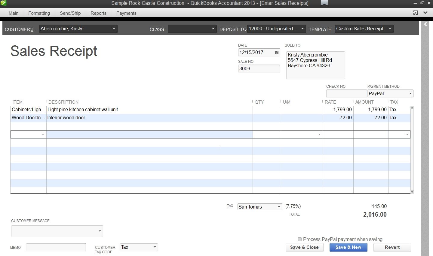 make a invoice handling paypal payments in quickbooks accounting software 1440 X 852