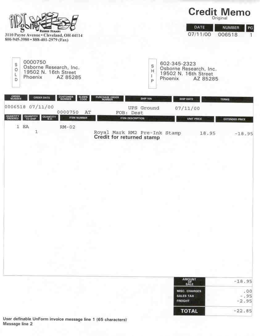 oe invoice 1 credit memo mindware credit invoice sample