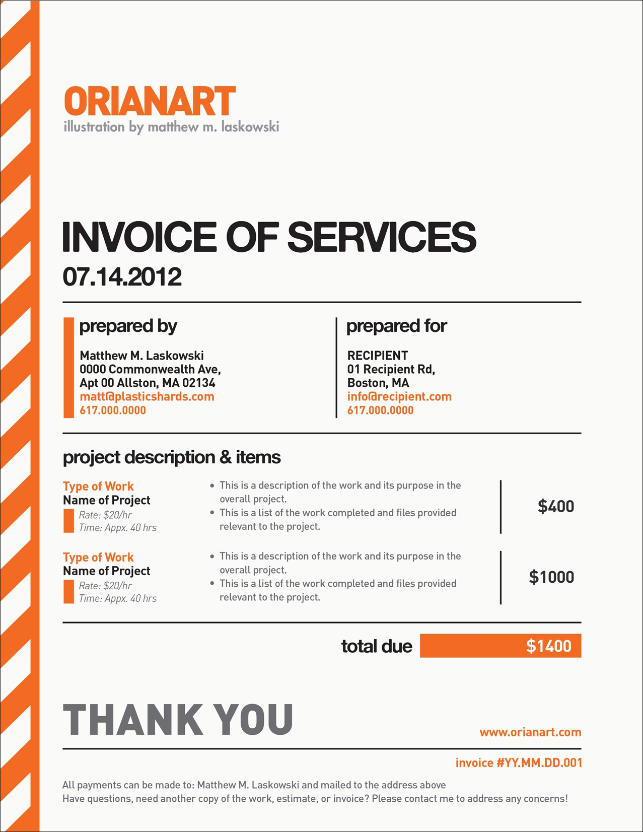 orianart invoice template indesign