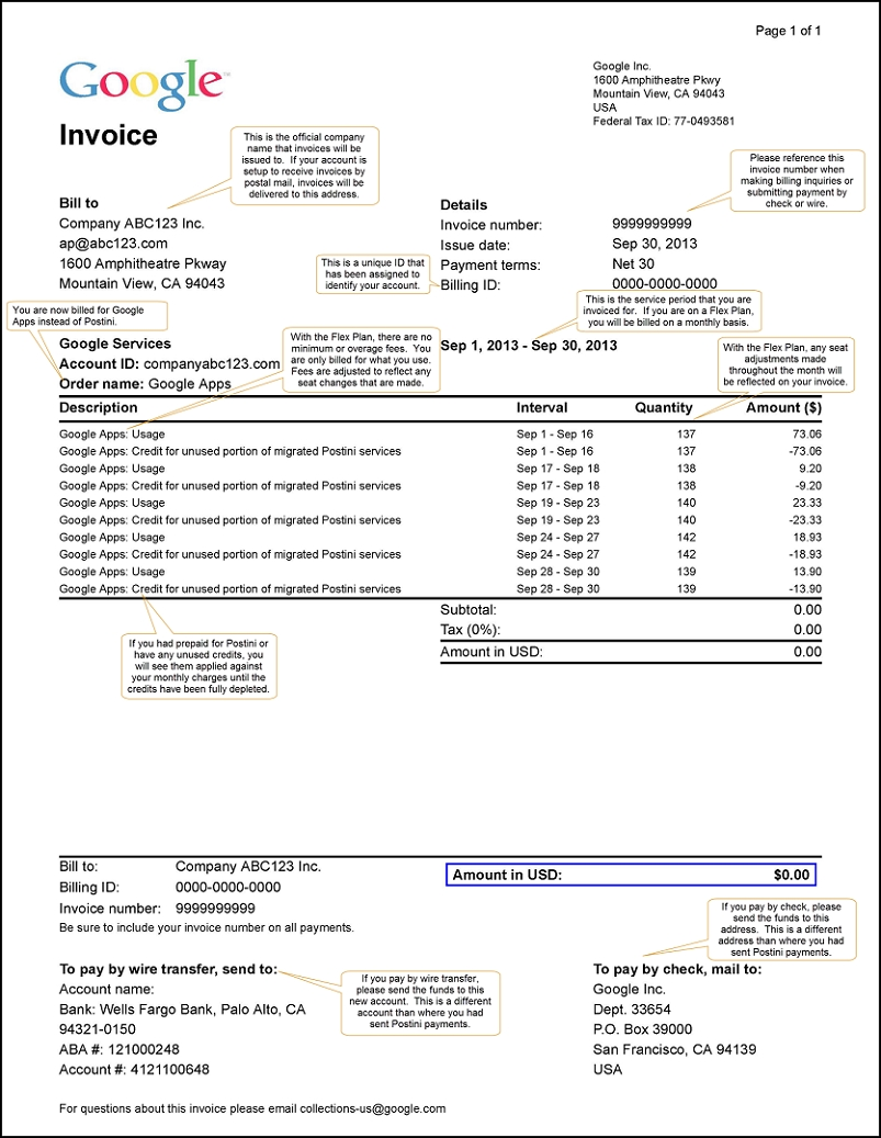 pricing and billing postini transition resource center 30 day invoice