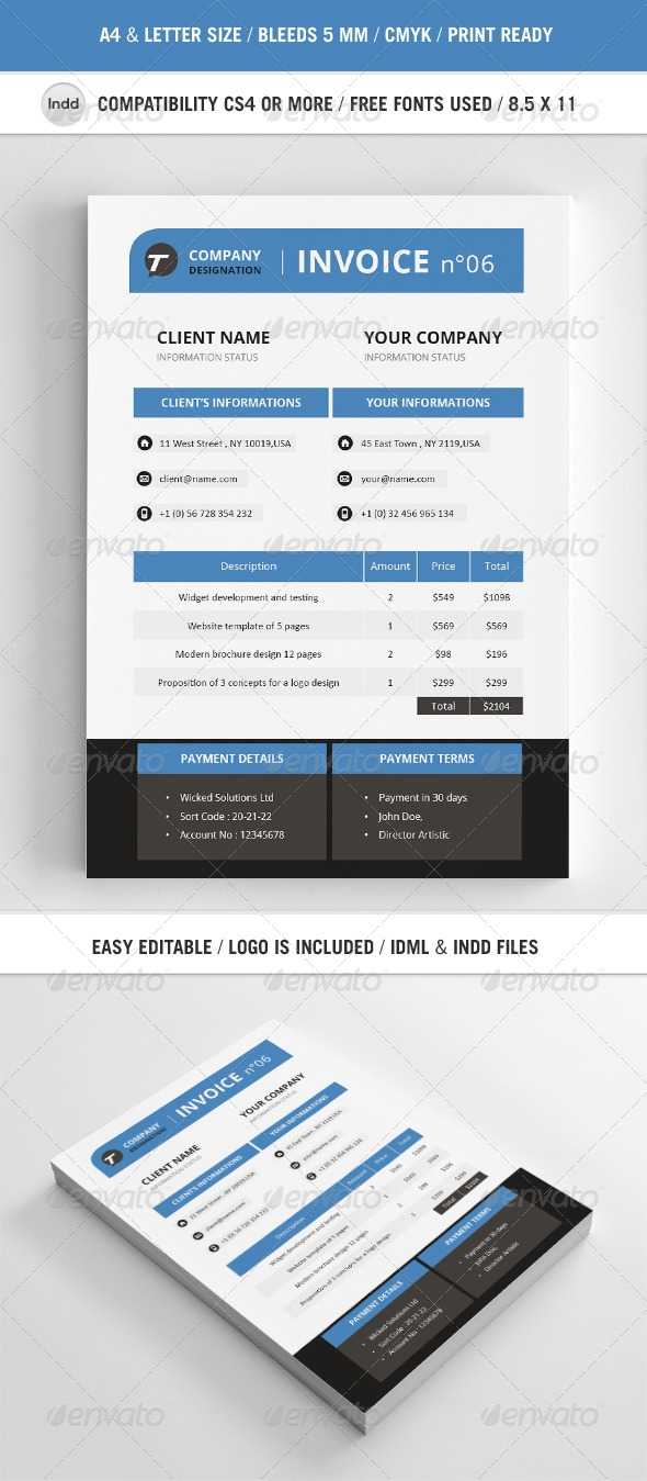 professional invoice template a4 graphicriver invoice template indesign