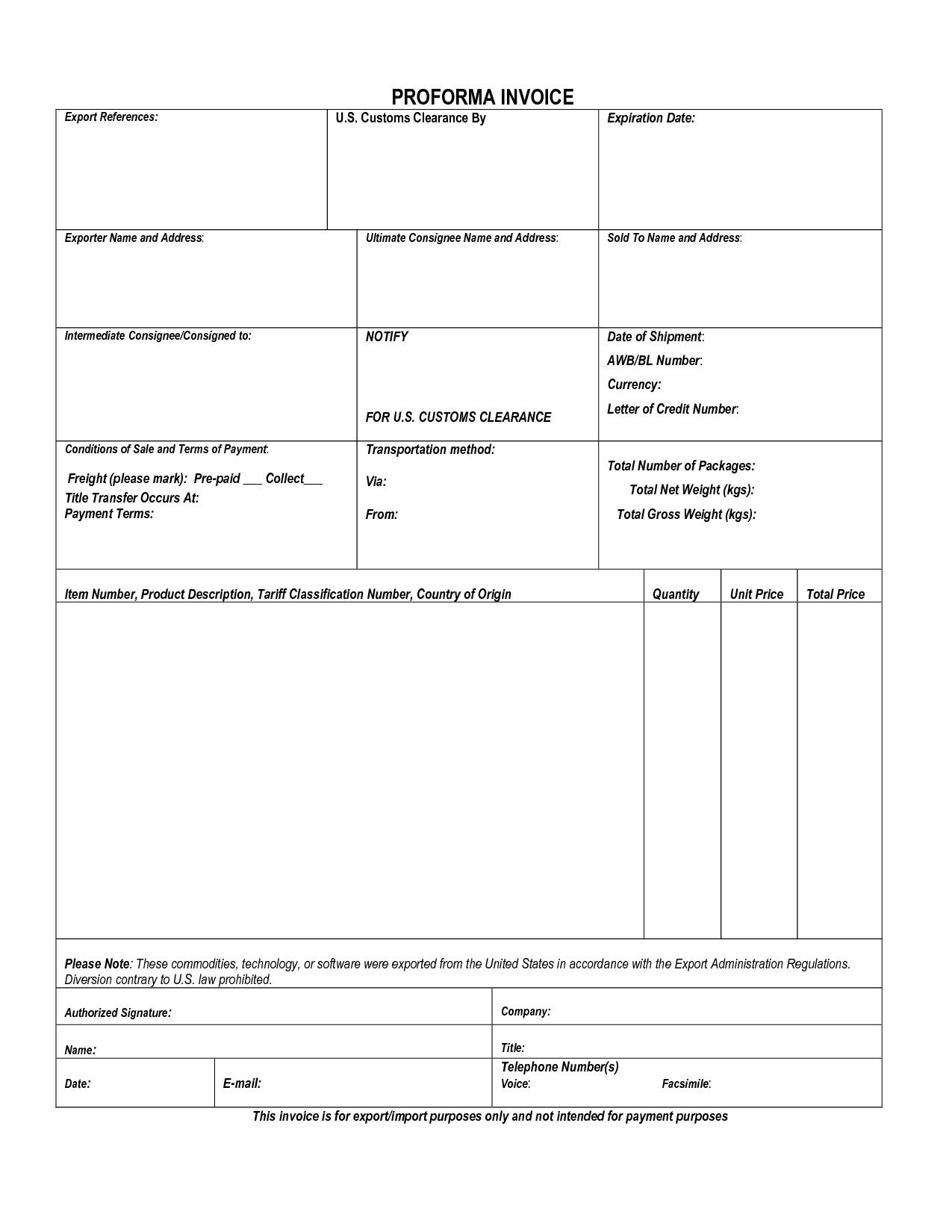 proforma invoice for customs   invoice template ideas