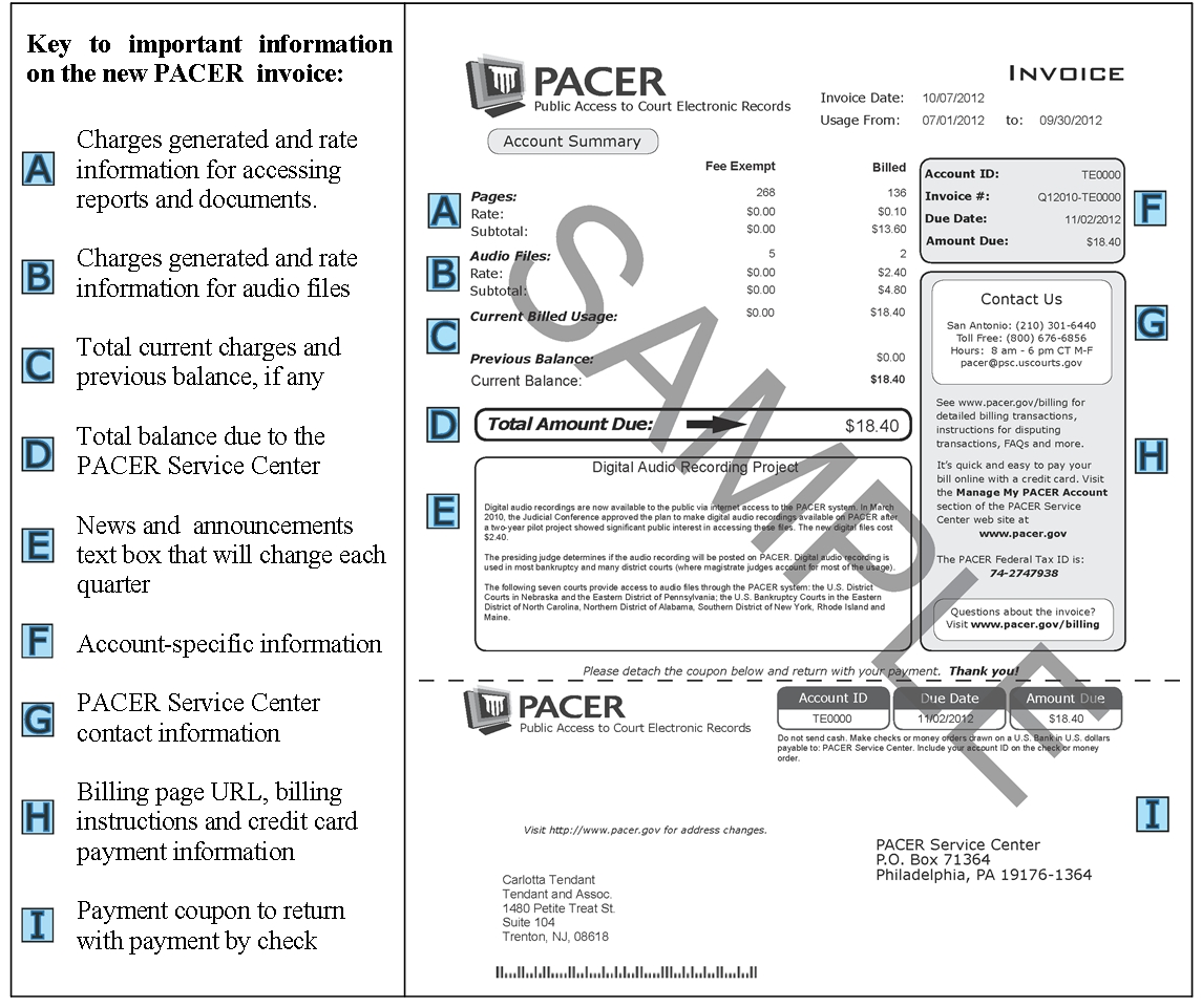 public access to court electronic records credit invoice sample