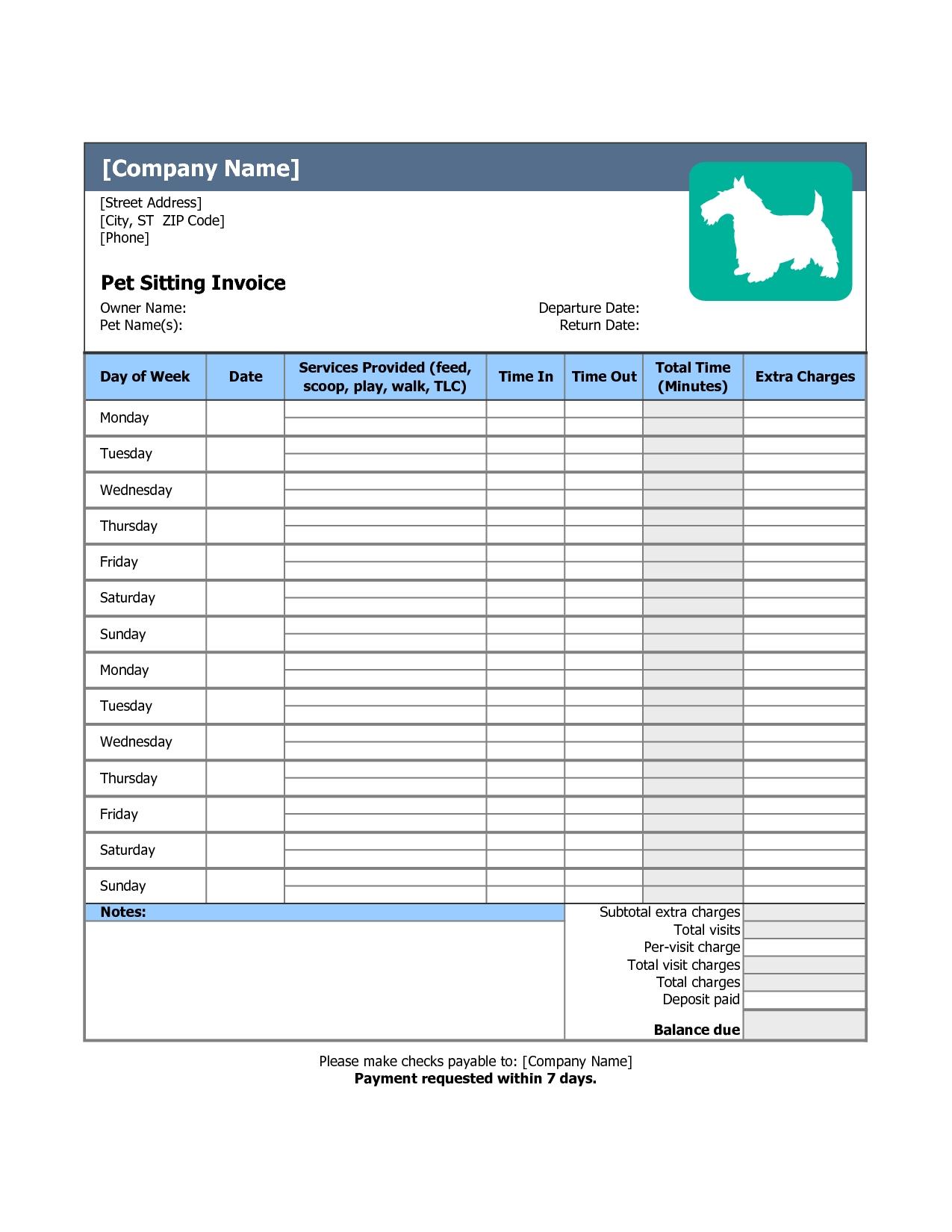 pet information template