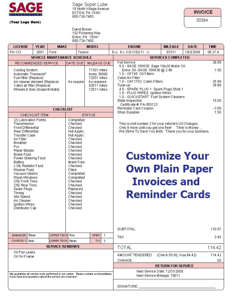 sage microsystems invoice printing services