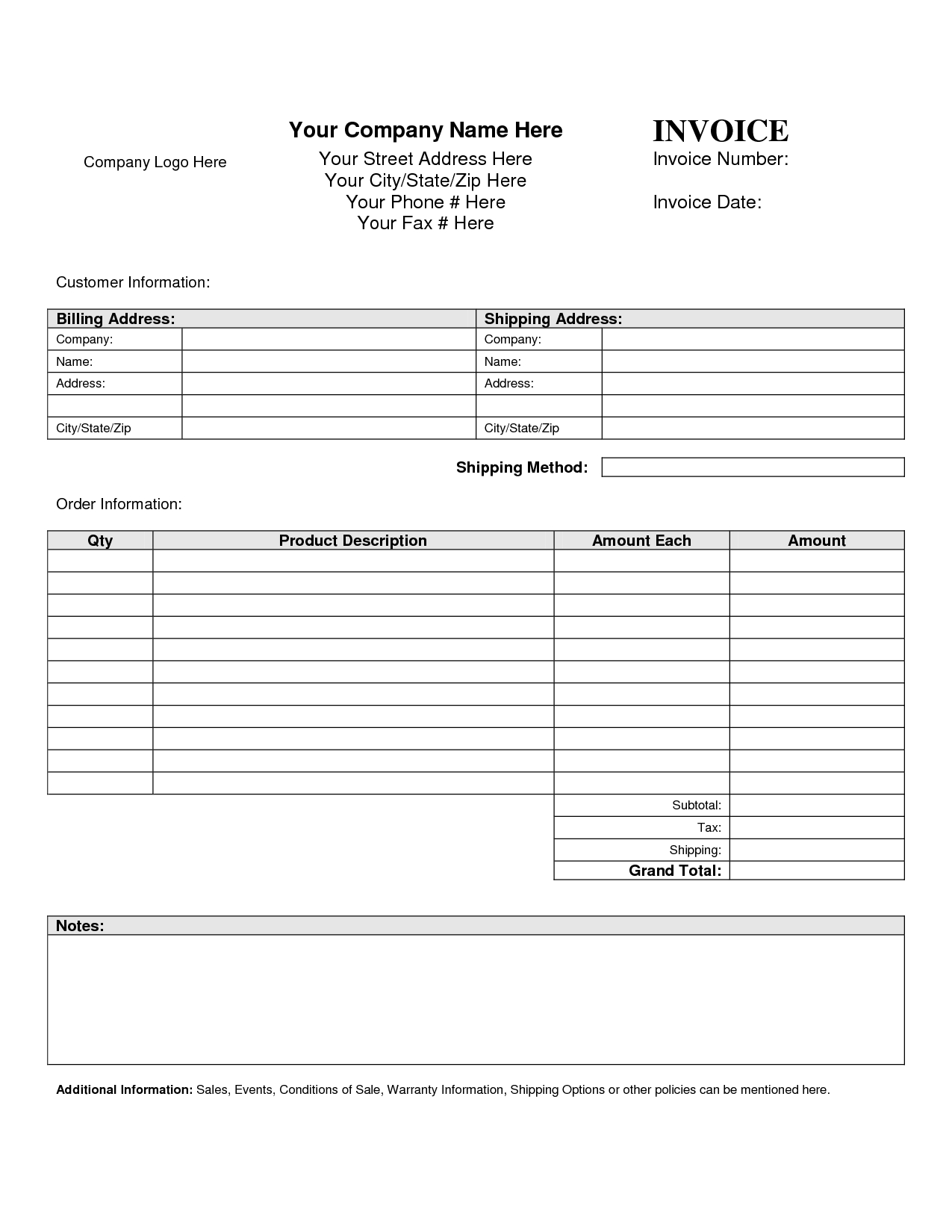 sample of an invoice template blank invoice template blank invoice 1275 X 1650