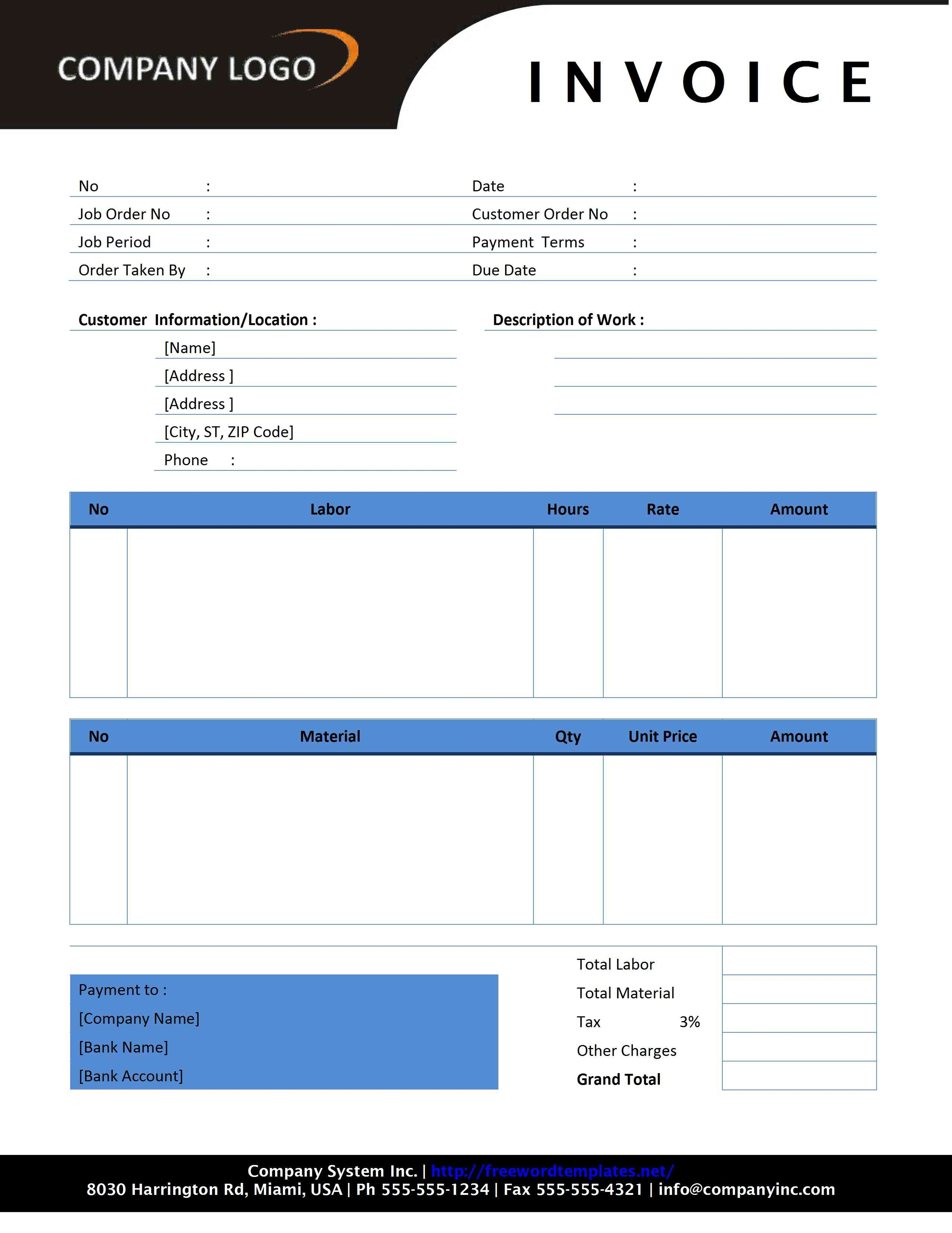 templates for invoices contractor invoice template free microsoft word templates 2550 X 3300