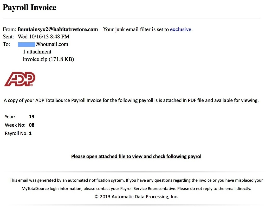 Adp Invoice Email