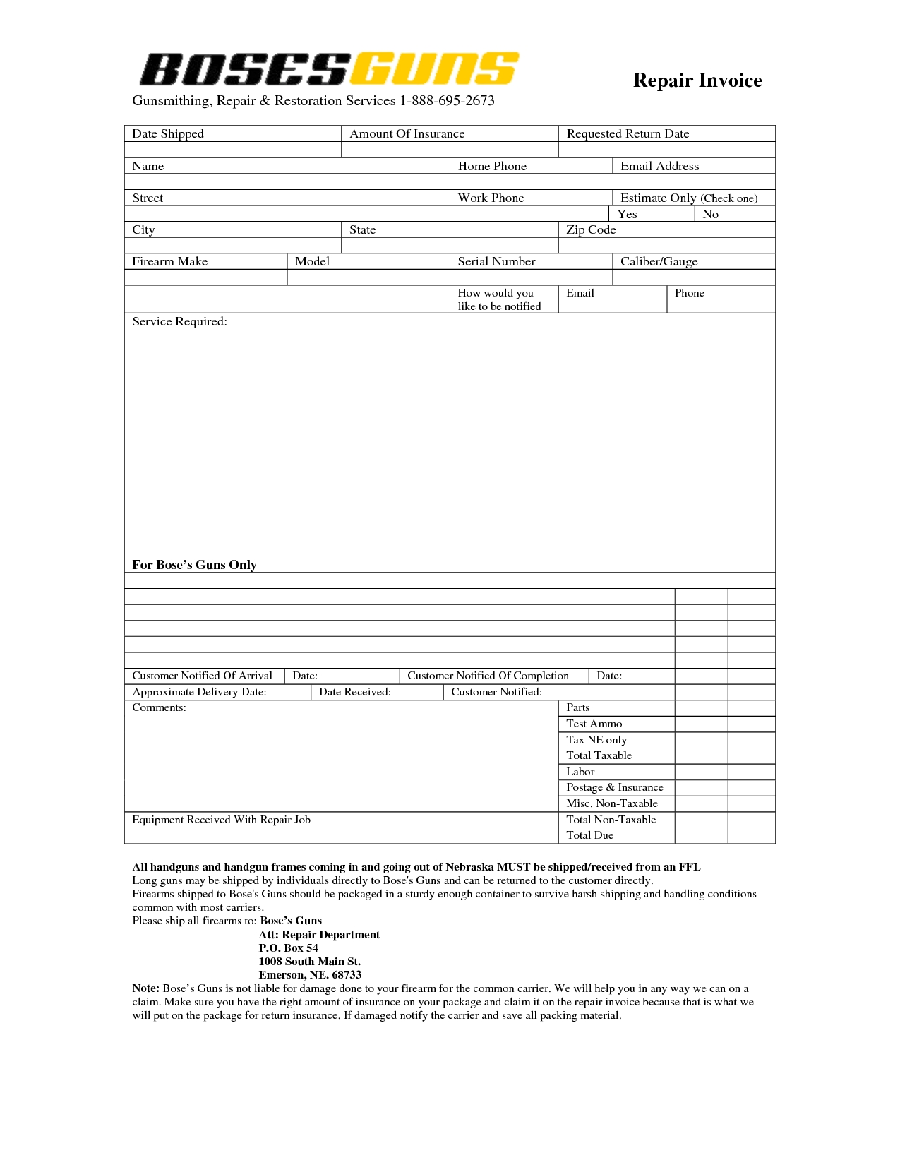 Home Repair Invoice Invoice Template Ideas