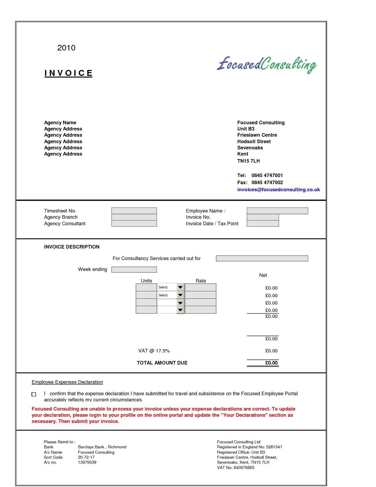 consultancy invoice