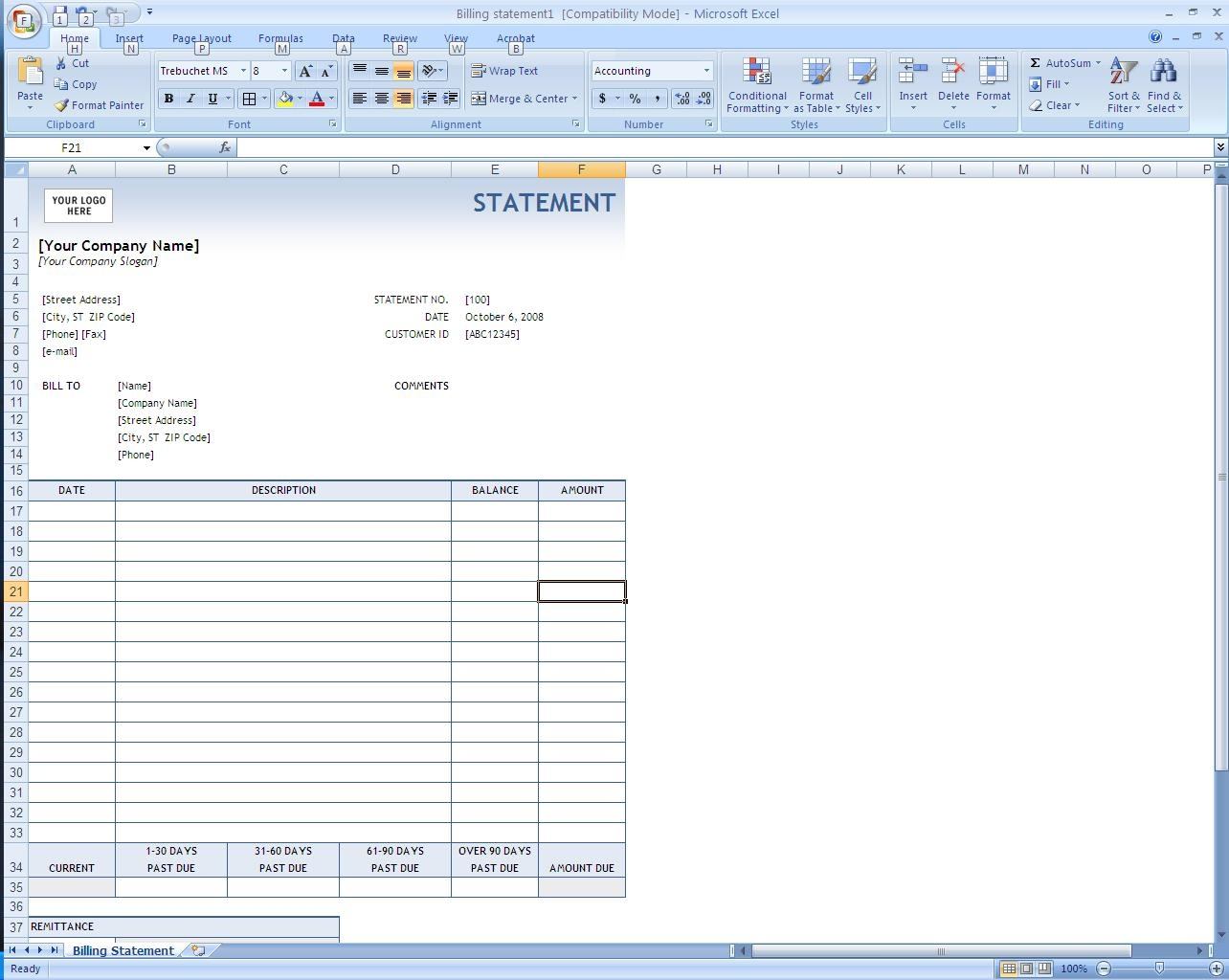 Excel Billing Invoice Template