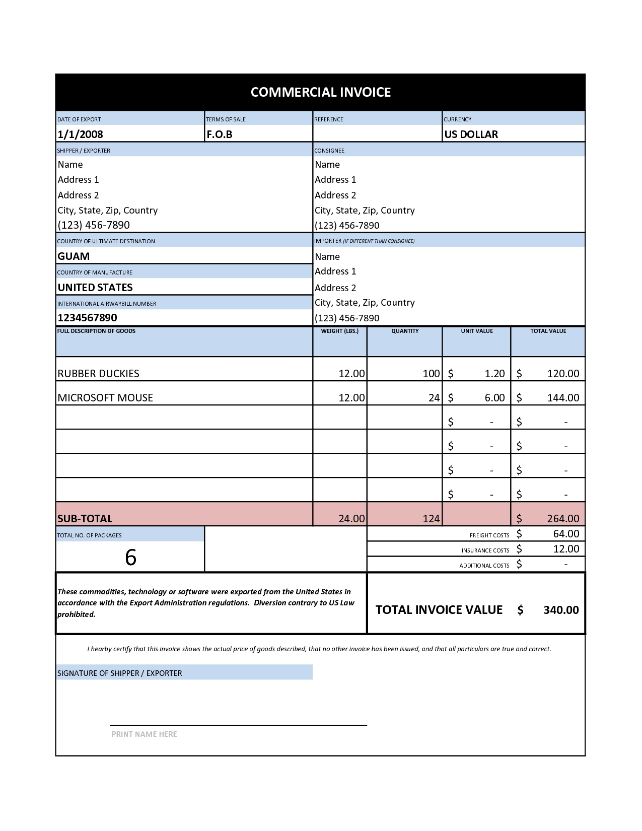 Invoice Example Excel