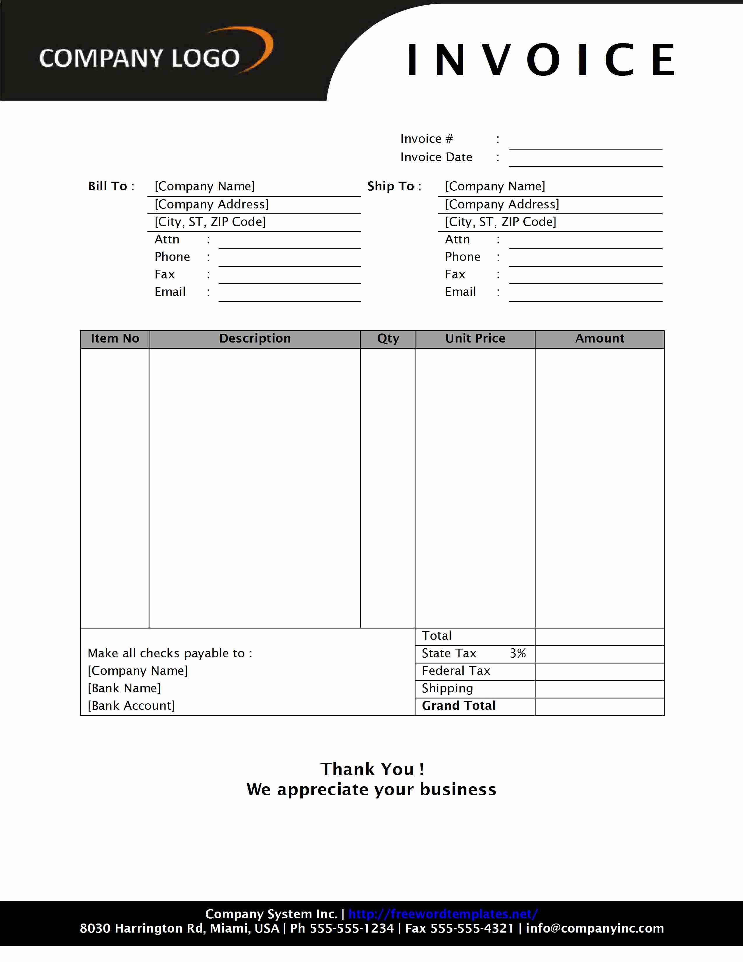 Bill Invoice Format employmeninfo – Invoice Template Free Word