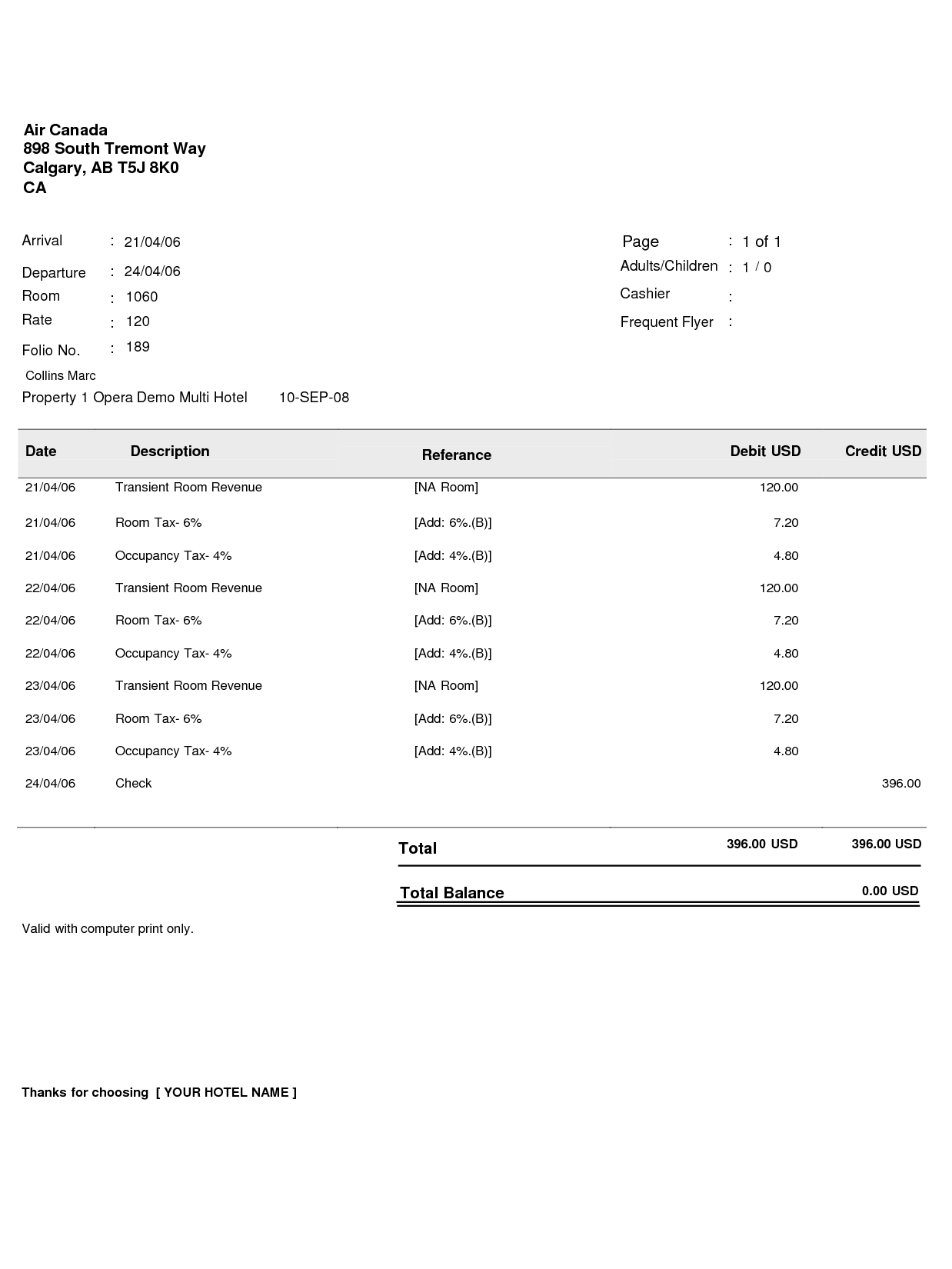bill format counseldynu hotel invoice sample