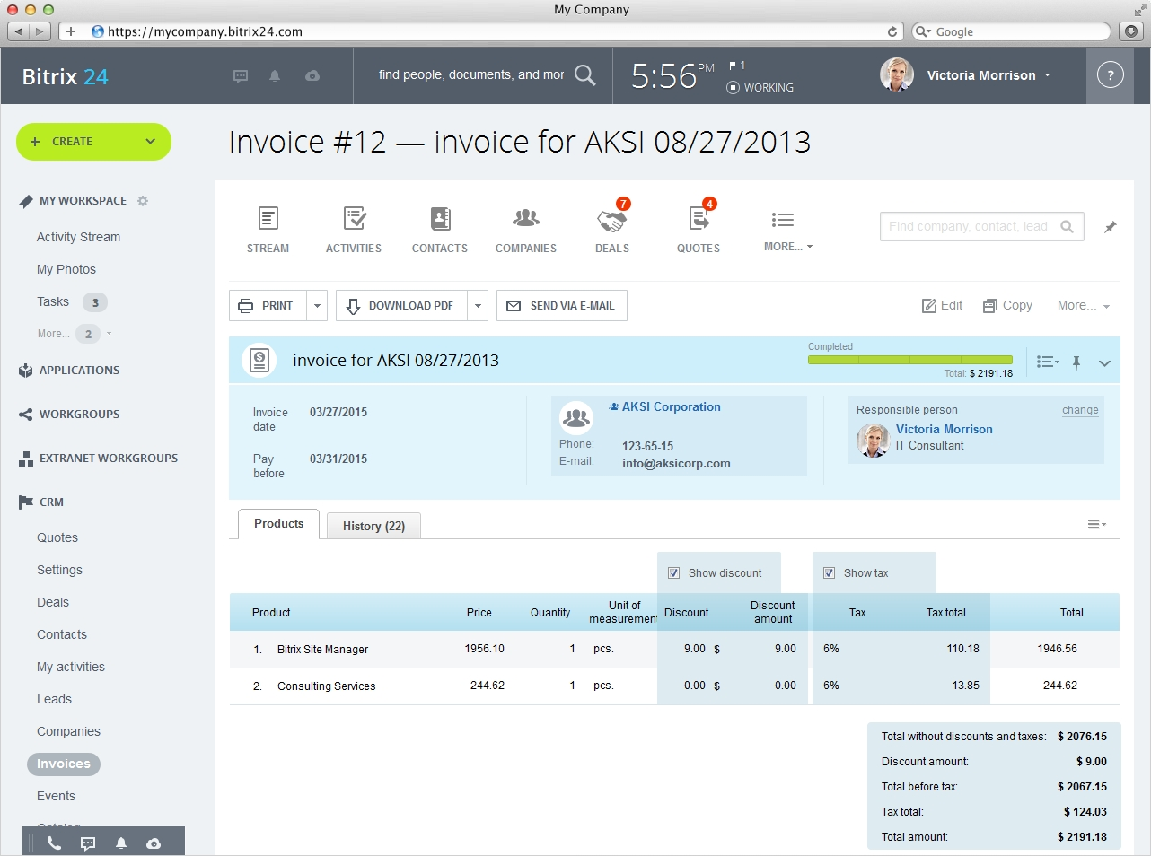 bitrix24 crm with invoicing open source invoice management
