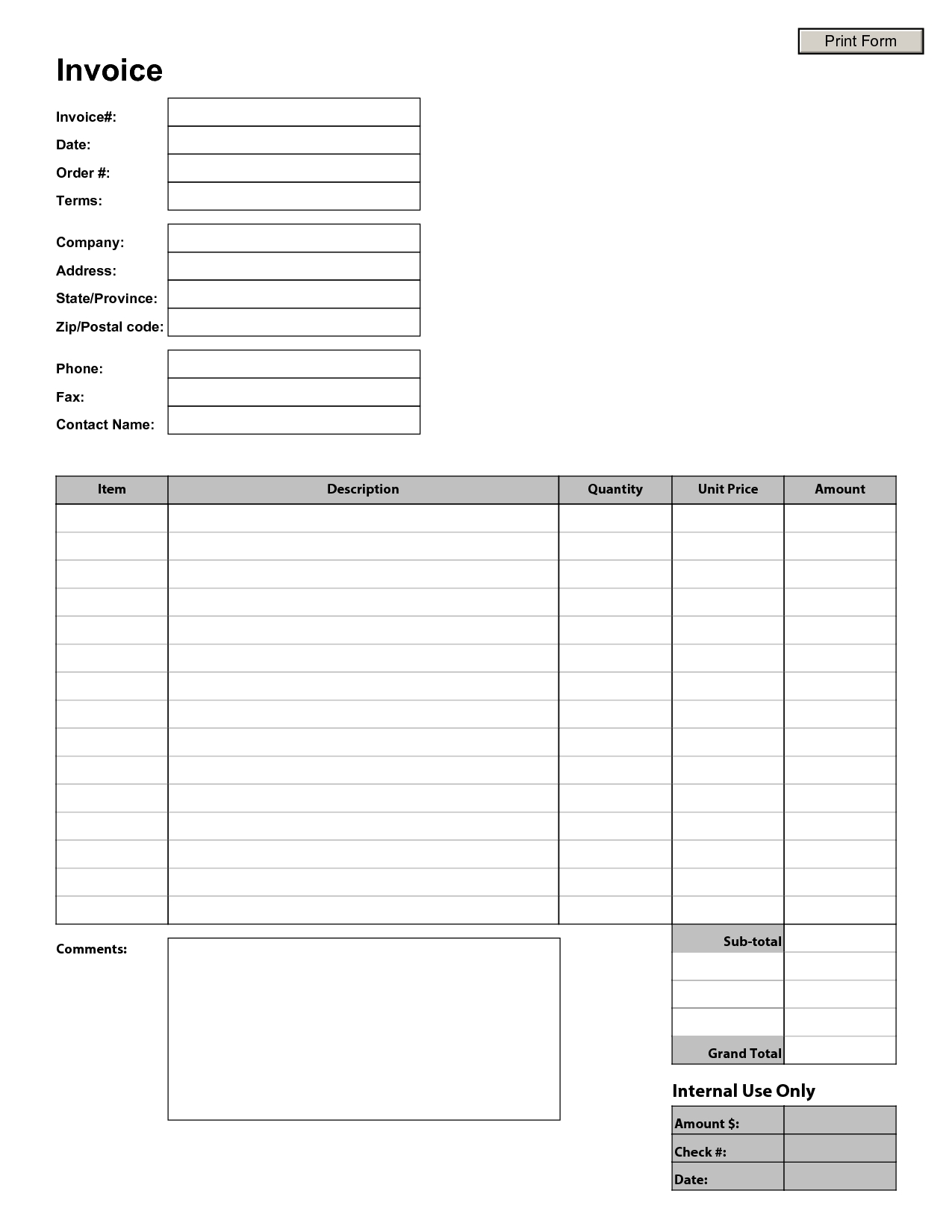 blank invoice sample blank invoice template blank invoice 1275 X 1650