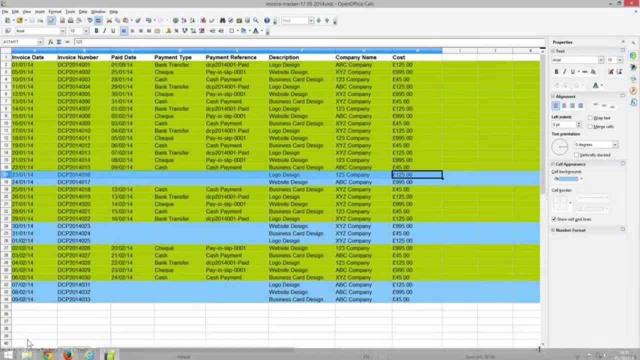 Invoice Tracking Spreadsheet