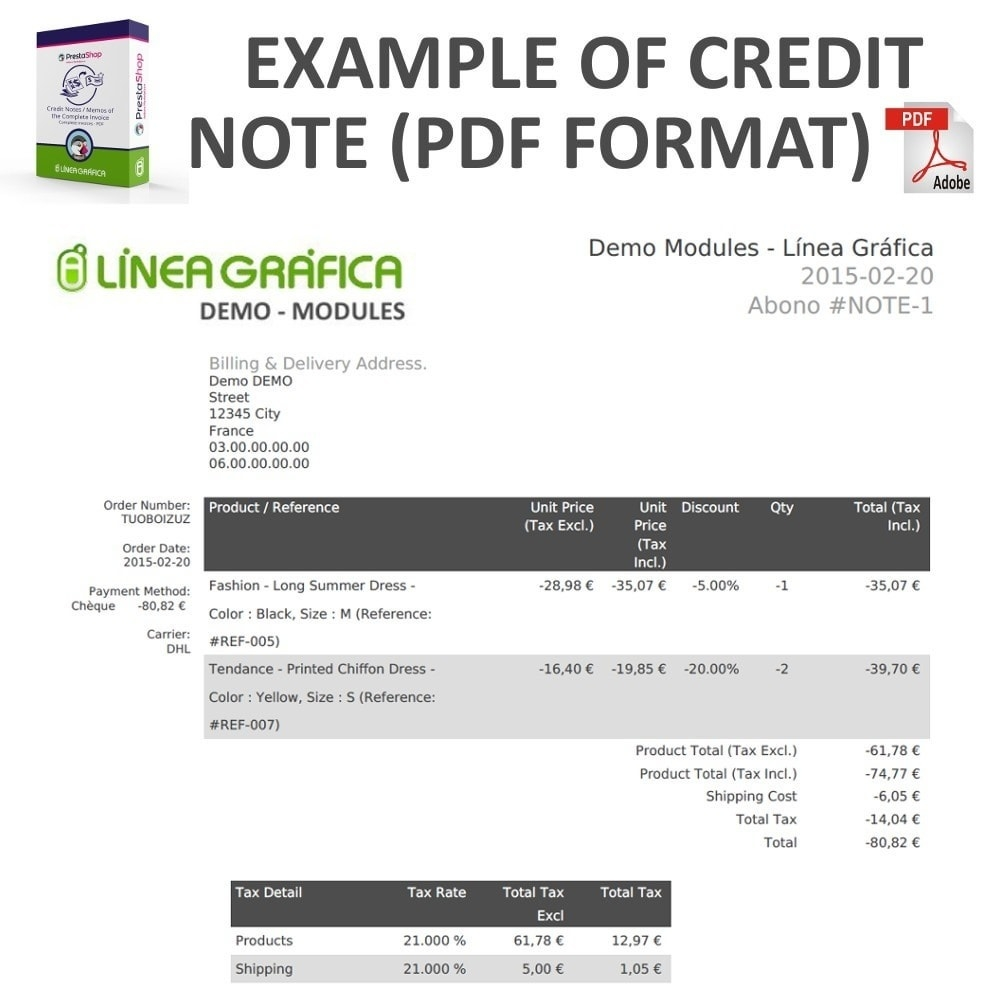 credit notes memos of the complete invoice in pdf prestashop credit note for invoice