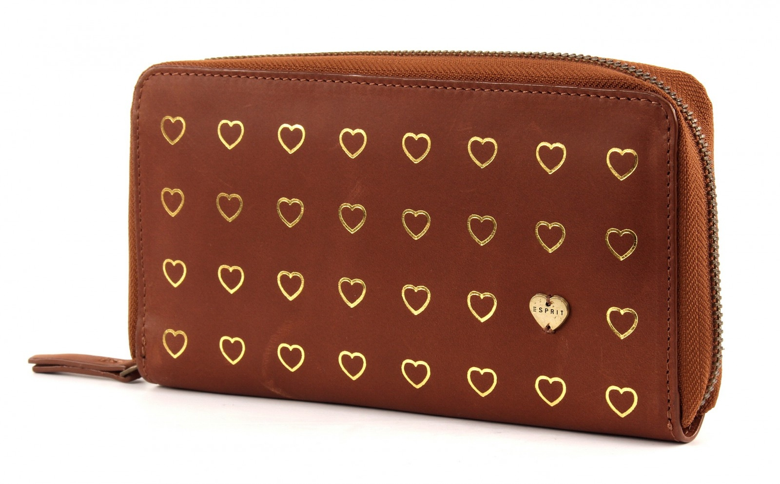 esprit heart multifunction cc zip around caramel zip cash invoice