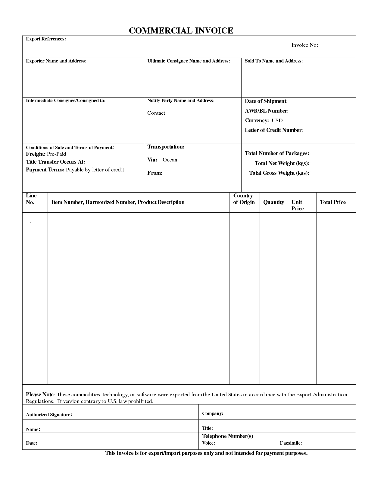 Export Proforma Invoice Sample
