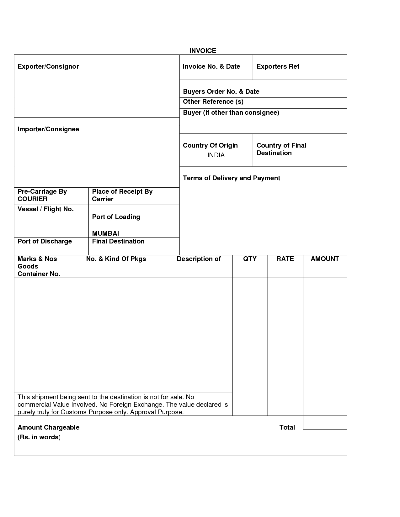export invoice sample invoice template free 2016 export invoice format