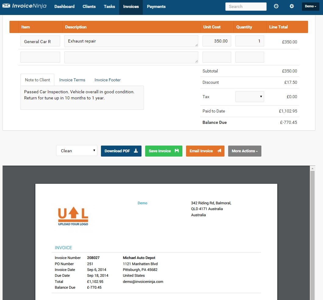 feature packed invoiceninja pdf invoice creator